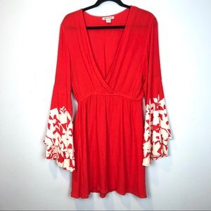 NWOT Billabong Red w/ White Floral Kimono Dress